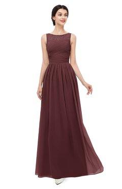 ColsBM Skyler Burgundy Bridesmaid Dresses Sheer A-line Sleeveless Classic Ruching Zipper