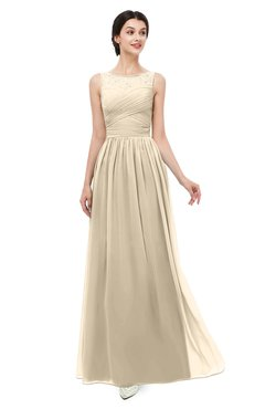 ColsBM Skyler Champagne Bridesmaid Dresses Sheer A-line Sleeveless Classic Ruching Zipper