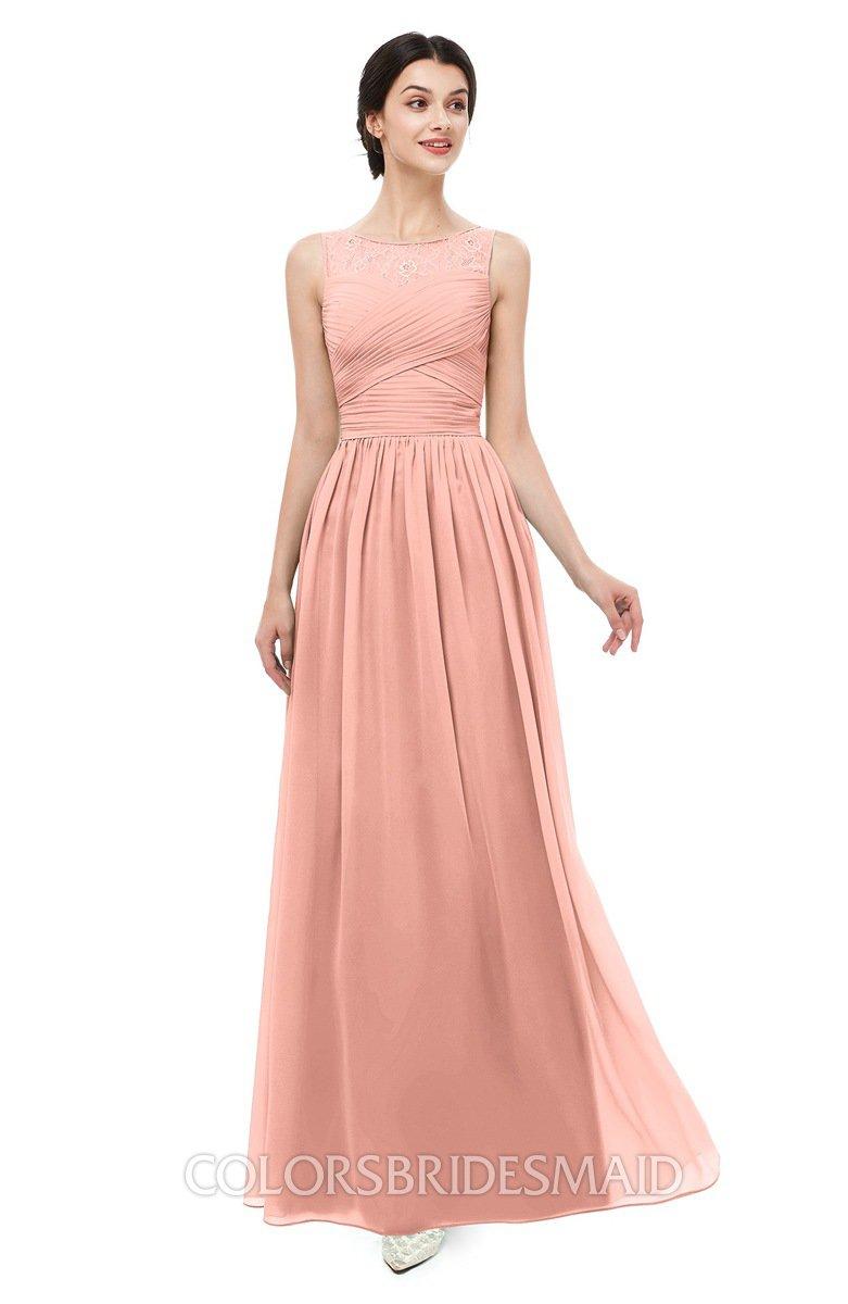 2005b4f36057 ColsBM Skyler Peach Bridesmaid Dresses Sheer A-line Sleeveless Classic  Ruching Zipper