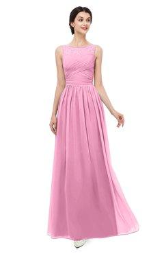 ColsBM Skyler Pink Bridesmaid Dresses Sheer A-line Sleeveless Classic Ruching Zipper