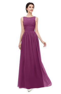 ColsBM Skyler Raspberry Bridesmaid Dresses Sheer A-line Sleeveless Classic Ruching Zipper