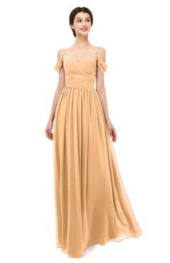 ColsBM Angel Apricot Bridesmaid Dresses Short Sleeve Elegant A-line Ruching Floor Length Backless