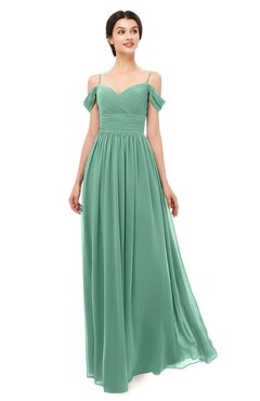 ColsBM Angel Beryl Green Bridesmaid Dresses Short Sleeve Elegant A-line Ruching Floor Length Backless