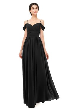 ColsBM Angel Black Bridesmaid Dresses Short Sleeve Elegant A-line Ruching Floor Length Backless