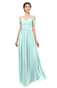 ColsBM Angel Blue Glass Bridesmaid Dresses Short Sleeve Elegant A-line Ruching Floor Length Backless