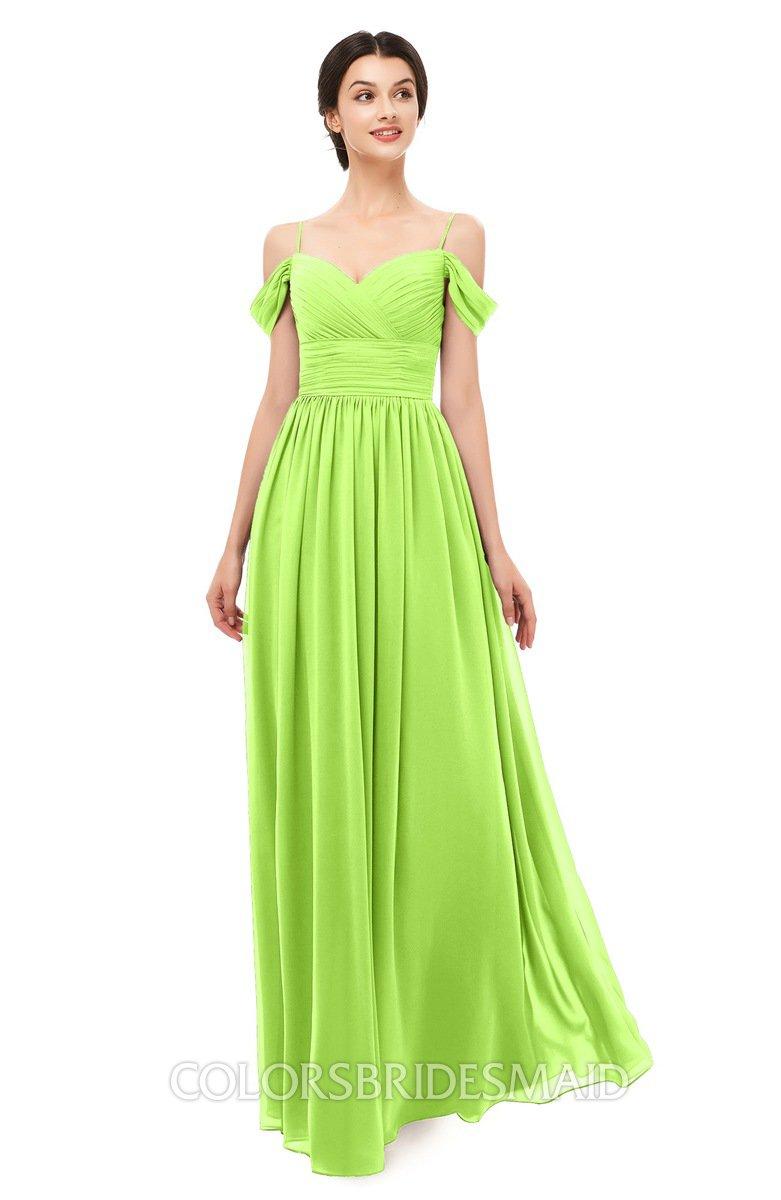 8e29589b8b7b ColsBM Angel Bright Green Bridesmaid Dresses Short Sleeve Elegant A-line  Ruching Floor Length Backless