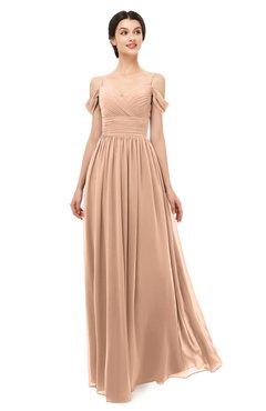 ColsBM Angel Burnt Orange Bridesmaid Dresses Short Sleeve Elegant A-line Ruching Floor Length Backless