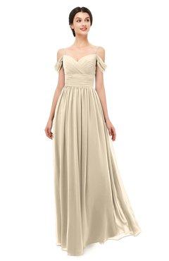 ColsBM Angel Champagne Bridesmaid Dresses Short Sleeve Elegant A-line Ruching Floor Length Backless