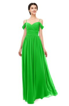 ColsBM Angel Classic Green Bridesmaid Dresses Short Sleeve Elegant A-line Ruching Floor Length Backless