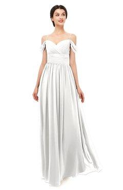 ColsBM Angel Cloud White Bridesmaid Dresses Short Sleeve Elegant A-line Ruching Floor Length Backless