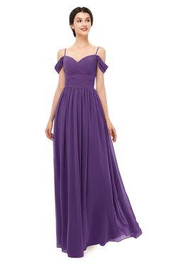ColsBM Angel Dark Purple Bridesmaid Dresses Short Sleeve Elegant A-line Ruching Floor Length Backless