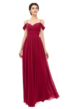 ColsBM Angel Dark Red Bridesmaid Dresses Short Sleeve Elegant A-line Ruching Floor Length Backless
