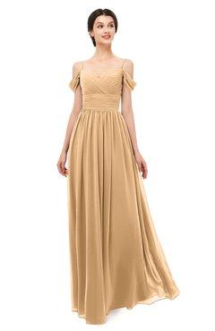 ColsBM Angel Desert Mist Bridesmaid Dresses Short Sleeve Elegant A-line Ruching Floor Length Backless