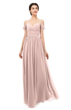 ColsBM Angel Dusty Rose Bridesmaid Dresses Short Sleeve Elegant A-line Ruching Floor Length Backless