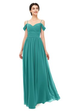 ColsBM Angel Emerald Green Bridesmaid Dresses Short Sleeve Elegant A-line Ruching Floor Length Backless