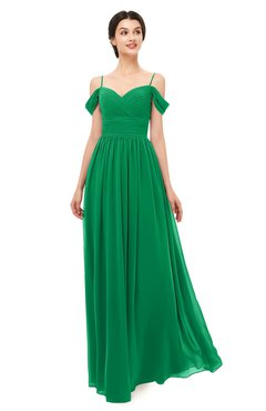 ColsBM Angel Green Bridesmaid Dresses Short Sleeve Elegant A-line Ruching Floor Length Backless