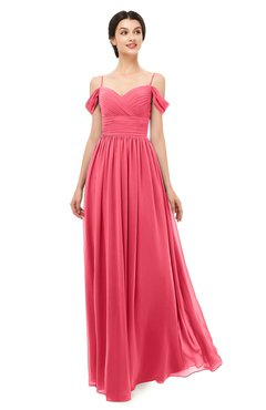ColsBM Angel Guava Bridesmaid Dresses Short Sleeve Elegant A-line Ruching Floor Length Backless