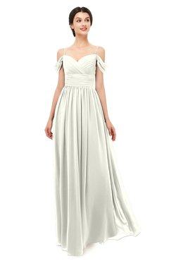 ColsBM Angel Ivory Bridesmaid Dresses Short Sleeve Elegant A-line Ruching Floor Length Backless
