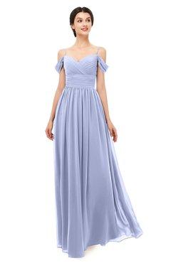 ColsBM Angel Lavender Bridesmaid Dresses Short Sleeve Elegant A-line Ruching Floor Length Backless
