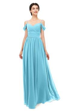 ColsBM Angel Light Blue Bridesmaid Dresses Short Sleeve Elegant A-line Ruching Floor Length Backless