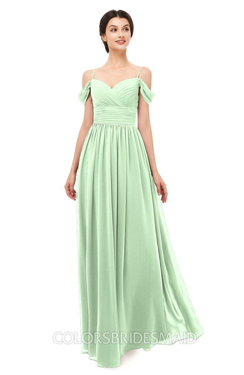 b46746e0b5e ColsBM Angel Light Green Bridesmaid Dresses Short Sleeve Elegant A-line  Ruching Floor Length Backless
