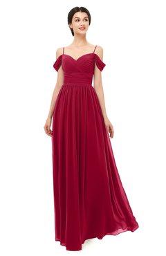 ColsBM Angel Maroon Bridesmaid Dresses Short Sleeve Elegant A-line Ruching Floor Length Backless