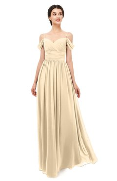ColsBM Angel Marzipan Bridesmaid Dresses Short Sleeve Elegant A-line Ruching Floor Length Backless