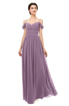 ColsBM Angel Mauve Bridesmaid Dresses Short Sleeve Elegant A-line Ruching Floor Length Backless
