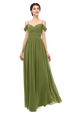 7b4aa0660ab ColsBM Angel Olive Green Bridesmaid Dresses Short Sleeve Elegant A-line  Ruching Floor Length Backless