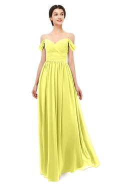 0758b7f660 ColsBM Angel Pale Yellow Bridesmaid Dresses Short Sleeve Elegant A-line  Ruching Floor Length Backless