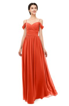 ColsBM Angel Persimmon Bridesmaid Dresses Short Sleeve Elegant A-line Ruching Floor Length Backless