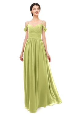 ColsBM Angel Pistachio Bridesmaid Dresses Short Sleeve Elegant A-line Ruching Floor Length Backless