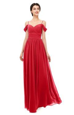 ColsBM Angel Red Bridesmaid Dresses Short Sleeve Elegant A-line Ruching Floor Length Backless