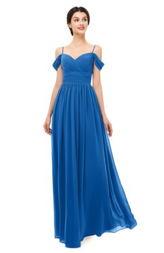ColsBM Angel Royal Blue Bridesmaid Dresses Short Sleeve Elegant A-line Ruching Floor Length Backless