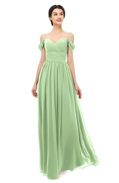 fb8d692b3b62 ColsBM Angel Sage Green Bridesmaid Dresses Short Sleeve Elegant A-line  Ruching Floor Length Backless