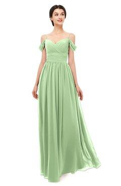 ColsBM Angel Sage Green Bridesmaid Dresses Short Sleeve Elegant A-line Ruching Floor Length Backless