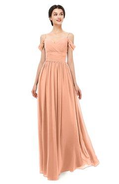 ColsBM Angel Salmon Bridesmaid Dresses Short Sleeve Elegant A-line Ruching Floor Length Backless
