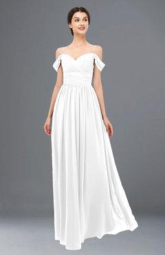ColsBM Angel White Bridesmaid Dresses Short Sleeve Elegant A-line Ruching Floor Length Backless