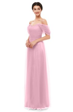 ColsBM Haven Baby Pink Bridesmaid Dresses Zip up Off The Shoulder Sexy Floor Length Short Sleeve A-line