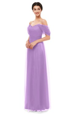 ColsBM Haven Begonia Bridesmaid Dresses Zip up Off The Shoulder Sexy Floor Length Short Sleeve A-line