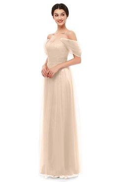 ColsBM Haven Beige Bridesmaid Dresses Zip up Off The Shoulder Sexy Floor Length Short Sleeve A-line