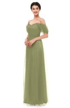ColsBM Haven Cedar Bridesmaid Dresses Zip up Off The Shoulder Sexy Floor Length Short Sleeve A-line