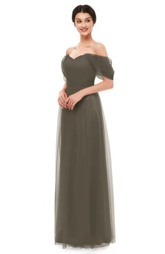 ColsBM Haven Chocolate Chip Bridesmaid Dresses Zip up Off The Shoulder Sexy Floor Length Short Sleeve A-line