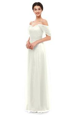 ColsBM Haven Cream Bridesmaid Dresses Zip up Off The Shoulder Sexy Floor Length Short Sleeve A-line