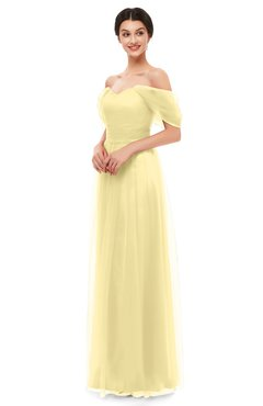 ColsBM Haven Daffodil Bridesmaid Dresses Zip up Off The Shoulder Sexy Floor Length Short Sleeve A-line