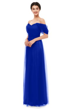ColsBM Haven Electric Blue Bridesmaid Dresses Zip up Off The Shoulder Sexy Floor Length Short Sleeve A-line