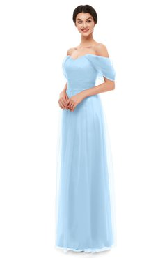 ColsBM Haven Ice Blue Bridesmaid Dresses Zip up Off The Shoulder Sexy Floor Length Short Sleeve A-line