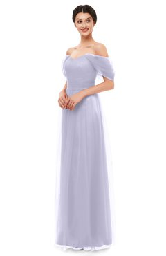 ColsBM Haven Chalk Violet Bridesmaid Dresses Zip up Off The Shoulder Sexy Floor Length Short Sleeve A-line
