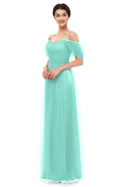 ColsBM Haven Mint Green Bridesmaid Dresses Zip up Off The Shoulder Sexy Floor Length Short Sleeve A-line