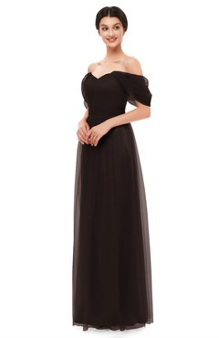 ColsBM Haven Puce Bridesmaid Dresses Zip up Off The Shoulder Sexy Floor Length Short Sleeve A-line